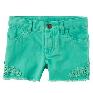 Carter's Adjustable Waist Lace Twill Shorts Green